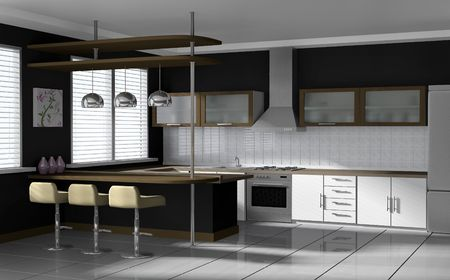 Interior visualization: modern kitchen photo