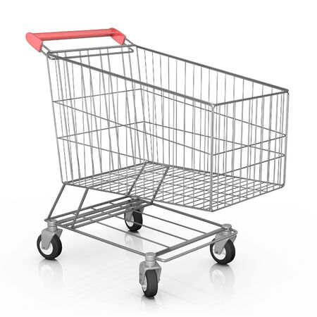 Empty shopping cart. 3D rendered image. Stock Photo - 7499993