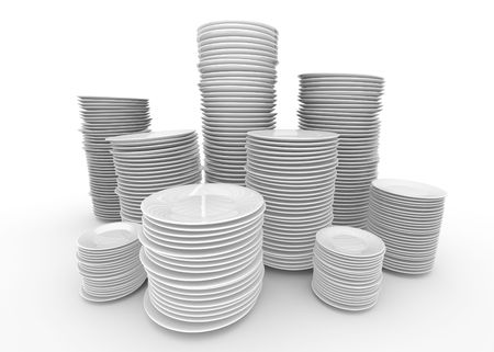 Stacks of white plates; 3D rendered image. photo