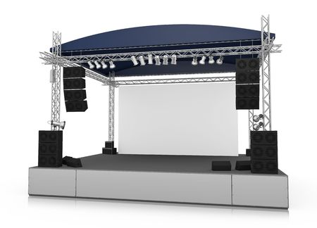 speakers: Empty outdoor stage with blank screen. 3D rendered illustration. Archivio Fotografico