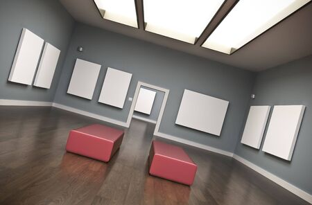 Gallery interior with blank canvases. 3D rendered image.