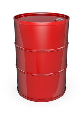 Red oil barrel. High quality 3D rendered image. photo