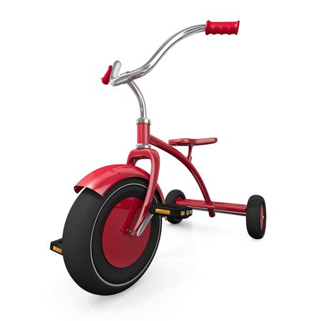 Red tricycle against a white background. High quality 3D rendered illustration. illustration