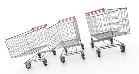 Three shopping carts. 3D rendered image. Stock Photo - 7646701