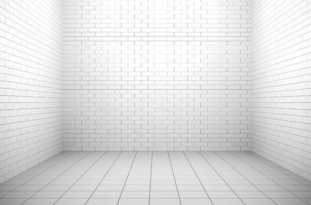 jail background: Empty windowless white interior
