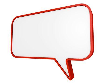 bande dessin�e bulle: Bulle de discours rouge. Rendu 3D.