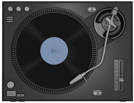Top view of a turntable with vinyl record photo