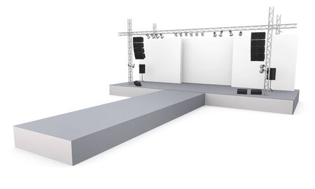 Empty fashion show stage with runway.