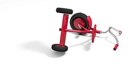 overturn: Triciclo rovesciato con lunghe ombre. 3D rendering illustrazione.