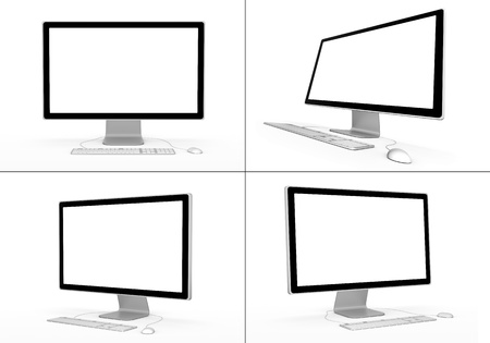 slanted: Set of computer workstations in various viewing angles.  Stock Photo