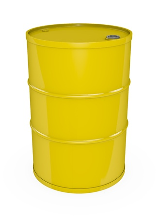 Yellow oil barrel. 3D rendered image. photo