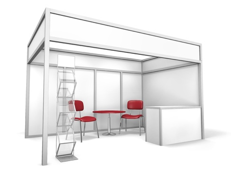 Empty trade event stand with chairs, table and brochure display. 3D rendered illustration