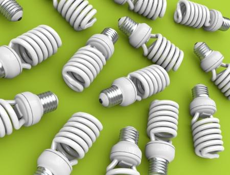 Energy efficient light bulbs on green plane. 3D rendered illustration. illustration