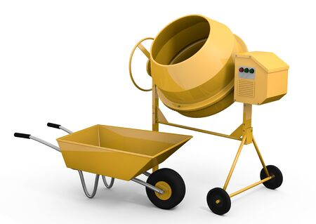 Yellow concrete mixer and wheelbarrow; 3D rendered image photo