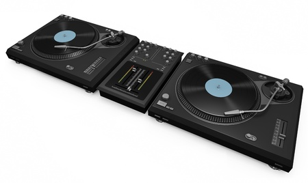 Two turntables and a mixer photo