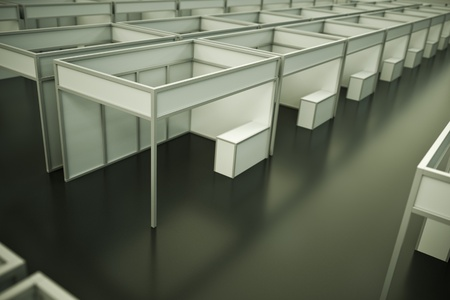 beursvloer: Binnen de handel Toon paviljoen; 3D render Stockfoto