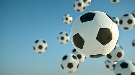 soccer balls: Soccer balls in the sky. 3D render.