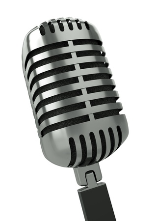 Classic microphone. 3D render. photo