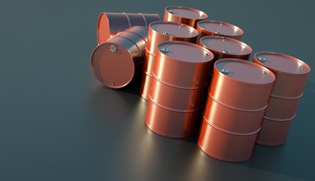 glistening: Barriles de aceite rojas brillando en la luz del sol. Render 3D. Foto de archivo