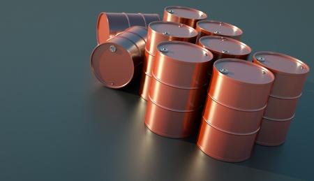 glistening: Red oil barrels glistening in the sunlight. 3D render.