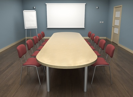class rooms: Board room with empty screen and a flipchart. 3D render.