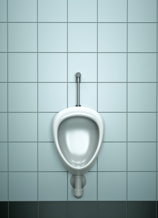mens: Single urinal. 3D rendered image.