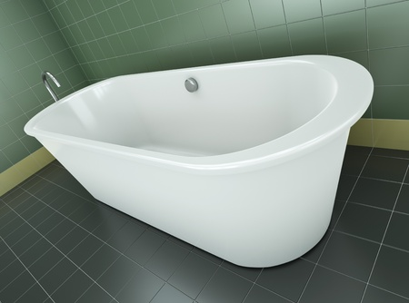 bathtubs: Classic bathtub in a green tile bathroom. 3D render. Stock Photo