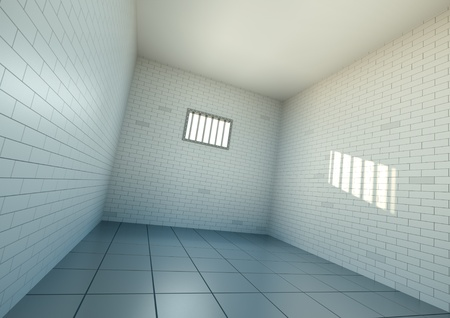 Empty prison cell, wide angle view. 3D rendered image. photo