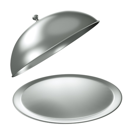 lunch tray: Silver catering tray with dome. 3D render.