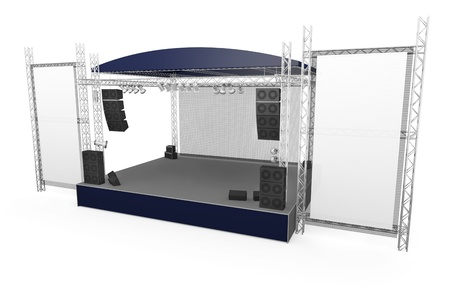 outdoor event: Outdoor stage with large vertical banners