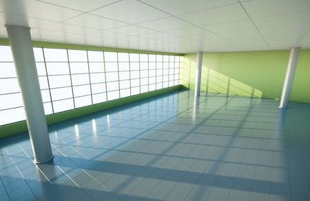 Large empty interior. 3D render. Stock Photo - 8980101