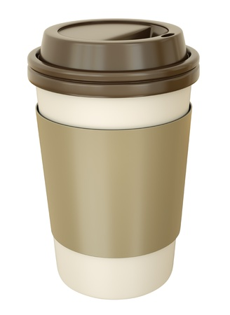 disposable: Takeaway coffee cup with lid. 3D render.