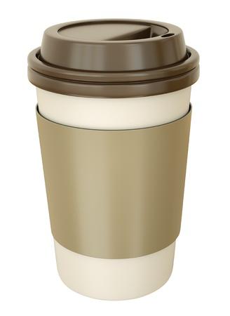 tomar: Takeaway coffee cup with lid. 3D render.