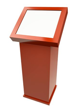 kiosk: Red touch screen terminal isolated against a white background. 3D rendered image.