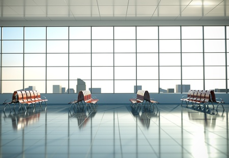 airport window: Airport waiting area. 3D render.