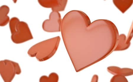 Red hearts background. 3D rendered illustration. Stock Illustration - 8980093