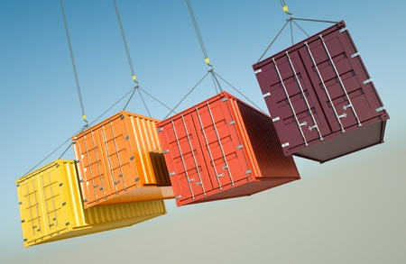 freight: Four shipping containers during transport. 3D rendered image. Stock Photo