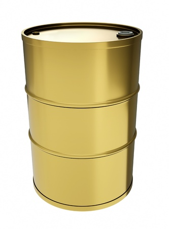 gas can: Gold oil drum. 3D render. Stock Photo