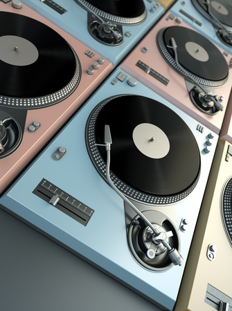 Cool turntables. 3D render. photo