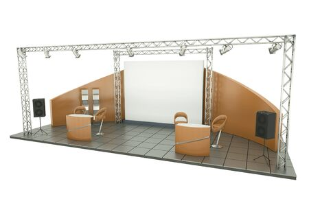 kiosk: Trade show stand; 3D render. Stock Photo