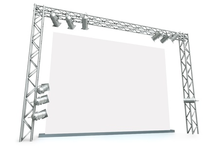 Large blank screen with lighting equipment. 3D rendered image.