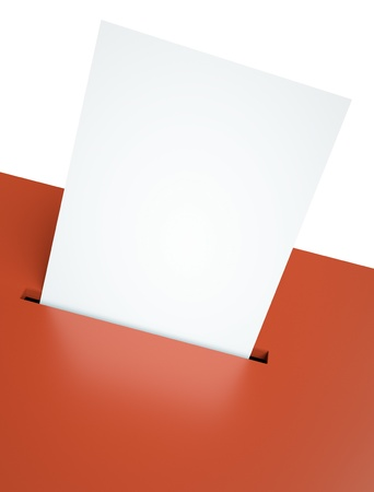 Blank voting paper in a red ballot box slot photo