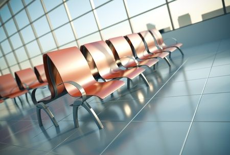 sitting area: Airport seats. 3D render