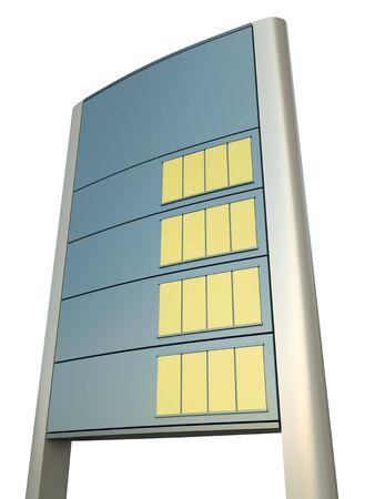 torres el�ctricas: Signo de precio de gasolinera en blanco. Procesamiento 3D.
