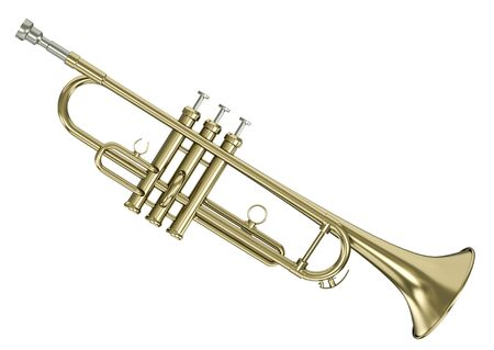fanfare: Gold trumpet isolated against white background. 3D rendered image