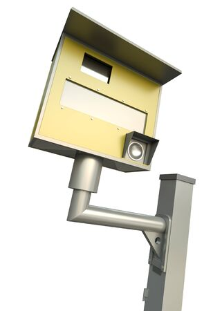 Yellow speed camera over white background. 3D render. photo