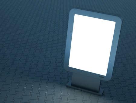 Bright citylight sign, evening scene. 3D render. photo