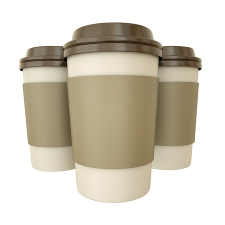 take away: Three takeaway coffee cups. 3D render