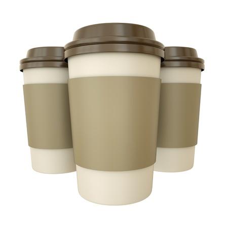 sleeve: Three takeaway coffee cups. 3D render