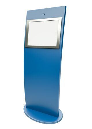 self communication: Digital touch screen terminal. 3D render. Stock Photo